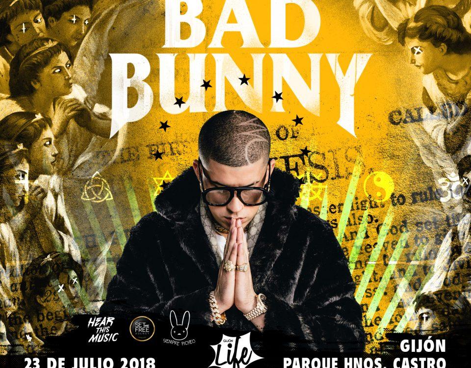 Cartel del Concierto Bad Bunny en Gijón, 2018. BIEFEC FX Efectos Especiales.